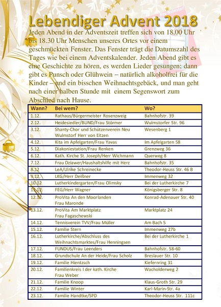 Lebendiger Adventskalender 2018 in Neu Wulmstorf