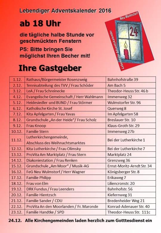 Lebendiger Adventskalender 2016 in Neu Wulmstorf