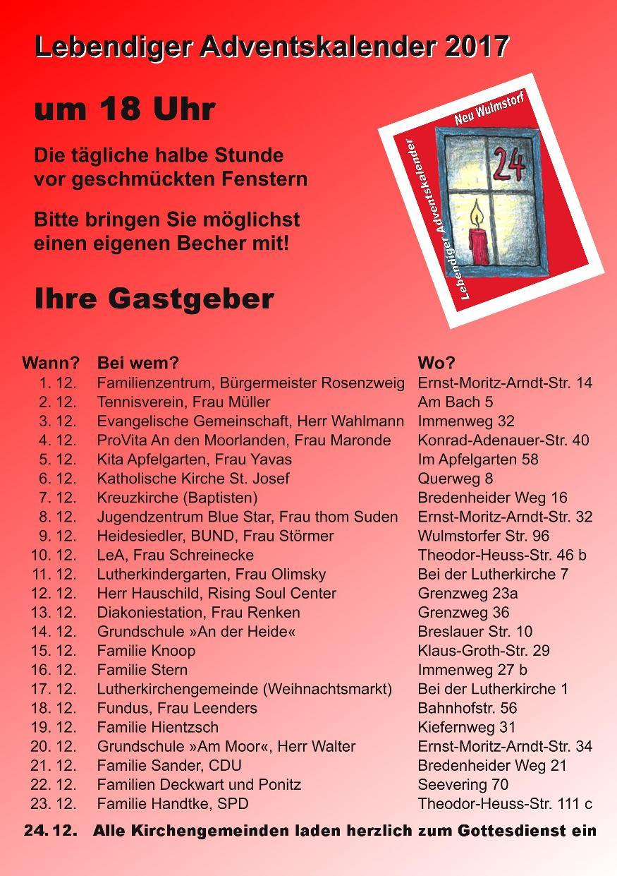 Lebendiger Adventskalender in Neu Wulmstorf 2017