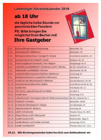 Lebendiger Adventskalender in Neu Wulmstorf 2019